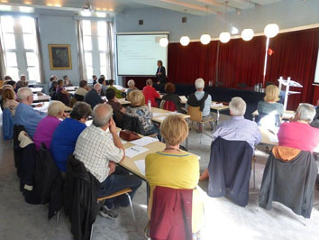 Participants to the course 'How should I write my family history?', organised in 2015 in the CegeSoma Conference Hall, in cooperation with Davidsfonds Academie. (Photo CegeSoma)
