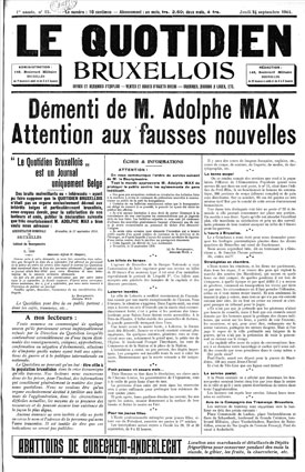"Frontpage of censured newspaper ""Le quotidien bruxellois"", 19 September 1914. (Cegesoma, collection ""The Belgian War Press"")"