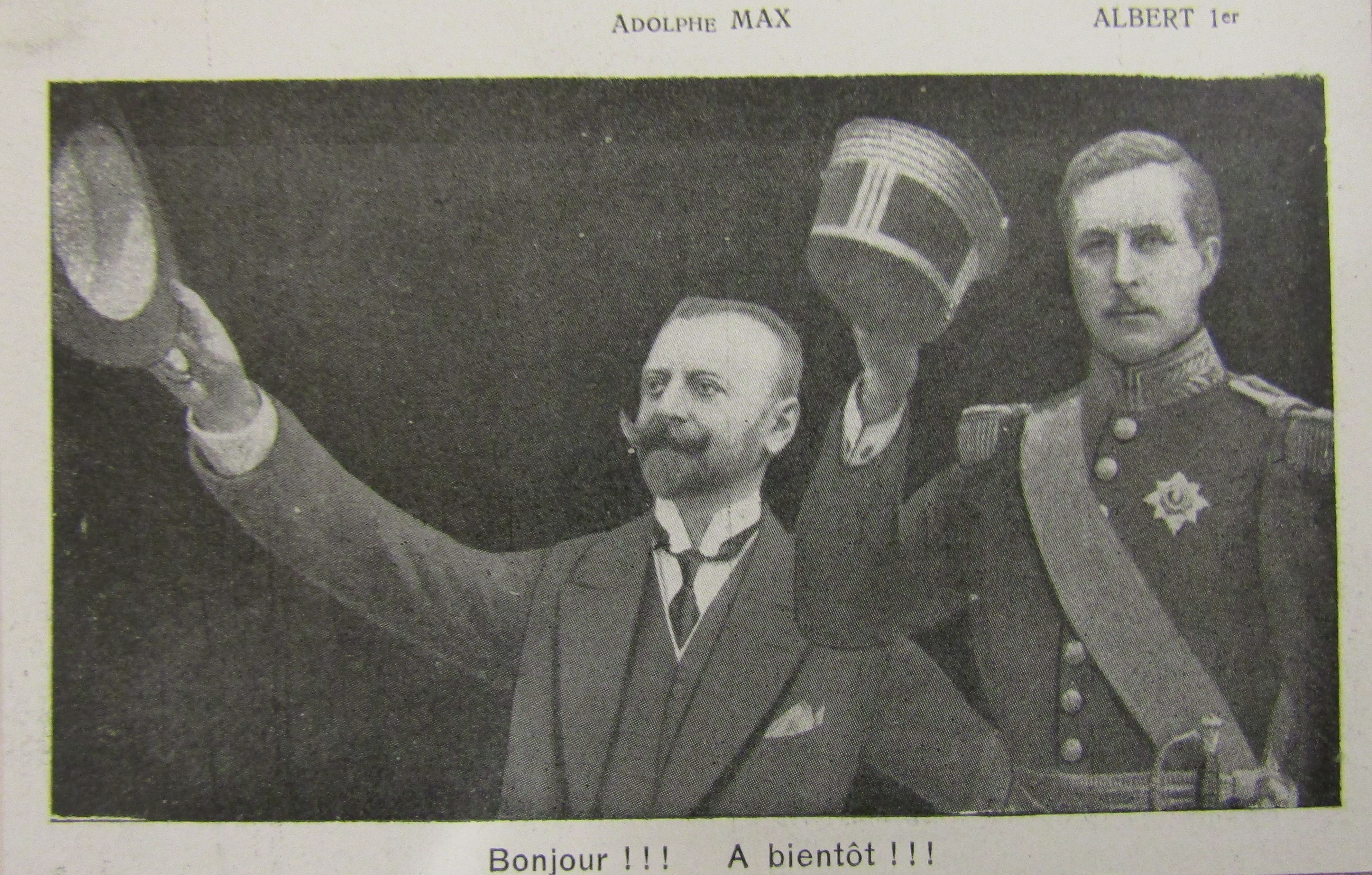 """Post card announcing the return of mayor Adolphe Max and king Albert to Brussels, 1918."" Brussels Municipal Archives."