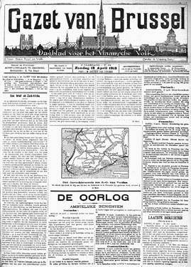 "Voorpagina van het gecensureerde dagblad ""Gazet van Brussel"", op 18 april 1915. (Cegesoma, collectie The Belgian War Press)"