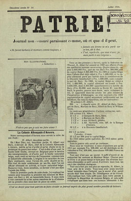 "First page of the clandestine newspaper ""Patrie!"", n°14, July 1916. (Cegesoma, collection The Belgian War Press)"