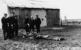 The body of SAS-sergeant Jean Melsens, retrieved by members of the White Brigade of Peer just after he was killed on 10 September 1944 in Meeuwen by retreating German troops' (photo Cegesoma)