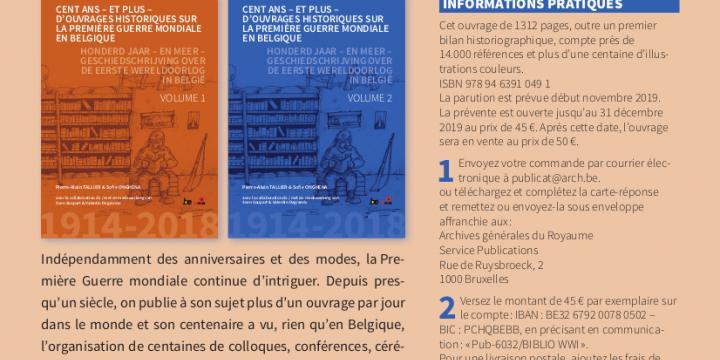 Cent ans – et plus – d'ouvrages historiques sur la Première Guerre mondiale en Belgique