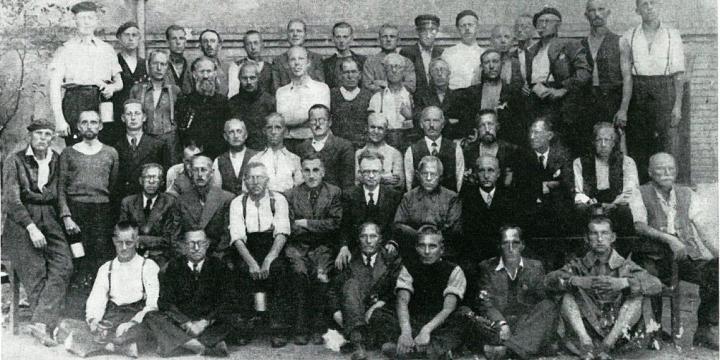 Groep Belgen bevrijd uit het kamp Vernet in juli 1940.