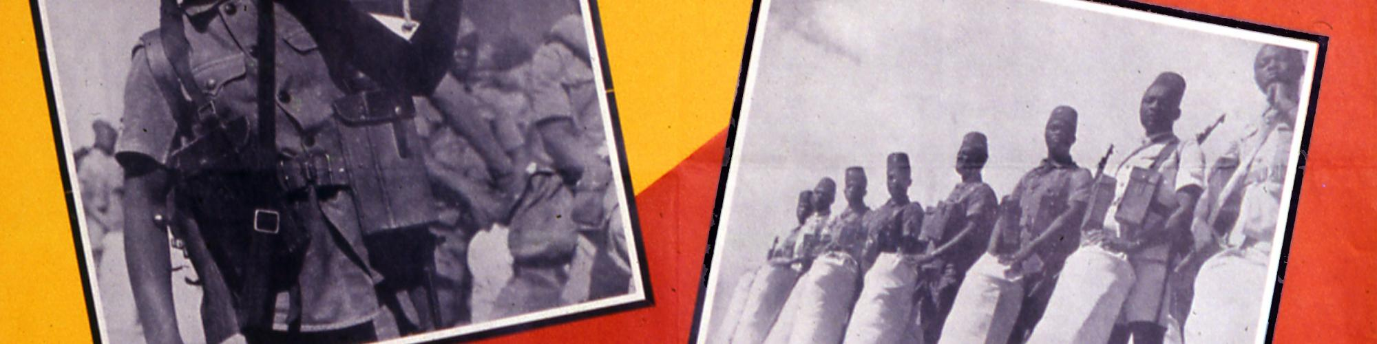 Affiche 'The Belgian colonial troops in the Middle East, [1940-1945]' uitgegeven door Print. L. S. Gray & Co, (coll. CegeSoma/Rijksarchief, n°274035, rechten voorbehouden).