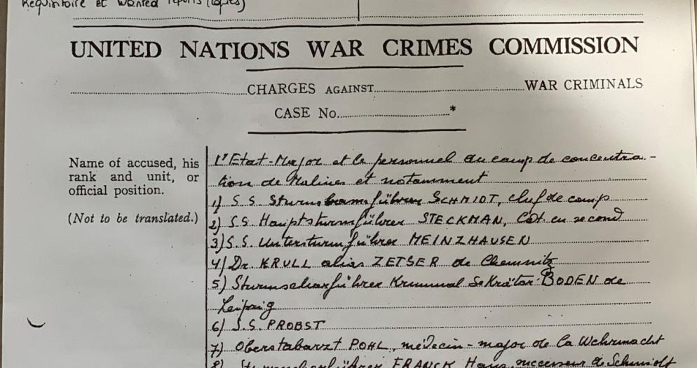 United Nations War Crimes commission, requisition, Archives Belgian Crime Commission, copyrights CegeSoma/Archives de l'Etat